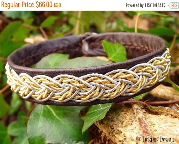 Sami Bracelet VIMUR Two Tone Viking Cuff in Antique Brown Leather with 14K Gold and Pewter wire Braid - A piece of The North