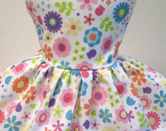 Doodlebug Flowers, Sleeveless Dress for your 18 Inch Doll D