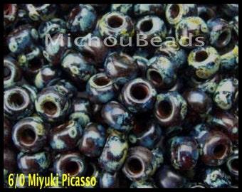 Sample 2 GRAMS 6/0 Garnet Trans Picasso Round Miyuki Seed Beads - Tiny 4mm w/ Large 1.5mm Hole Spacer Beads - DIY Usa - 6904