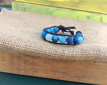 Beaded Wrap Bracelet, Single Leather Wrap Bracelet, Boho Bracelet