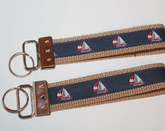 Preppy Key Fob Key Chain Sailboats