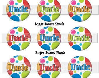 Instant Download  Bright Polka  Dots Uncle 1 inch Circle Bottlecap Images 4x6 sheet