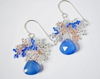 Seed Bead Earrings, Silver Seed Bead Chalcedony Earrings, Beaded Earrings, Blue & Peach Seed Bead Earrings