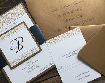 Wedding Invitations - Gold Wedding Invitation - Black and Gold Wedding Invitations - Luxury Wedding Invitations