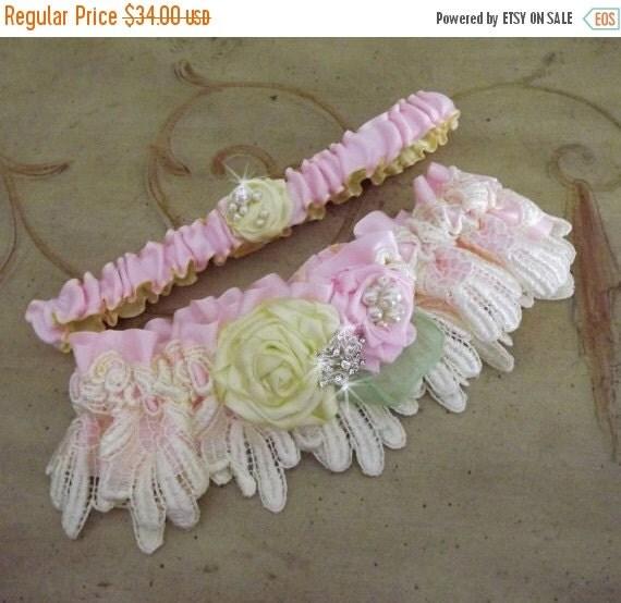 SALE Pink Yellow Wedding Garter Set/ Lace Garter/Handmade Flowers