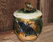 Handmade Stoneware Jar with Pipevine Swallowtail