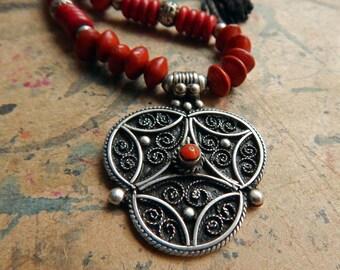 MOROCCAN Pendant Beaded Necklace; Silver Filigree; Carnelian Cabochon; Howlite; Saga Love Beads; Handmade Twine; Extra Long Statement Piece.
