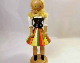 Vintage POLISH DOLL - Wood / Colorful / Original Label / Folk Art / Blonde Girl