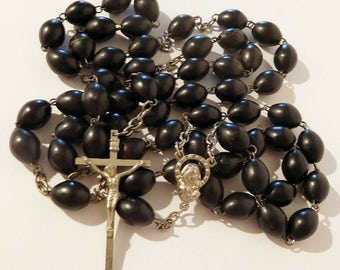 "ROSARY - LONG 31"" - Black Wood Prayer Beads - Silver Tone - Catholic Religious Jewelry"