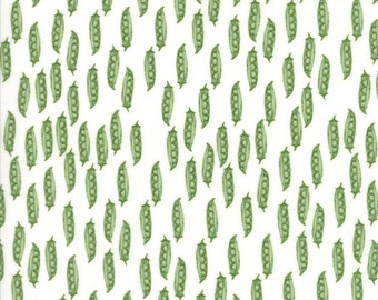 Children's Peas in a Pod Fabric in White - Darling Little Dickens by Lydia Nelson from Moda 1/2 Yard