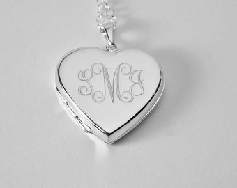Custom Engraved Locket Personalized Sterling Silver Large Heart Locket 1 Inch  - Hand Engraved