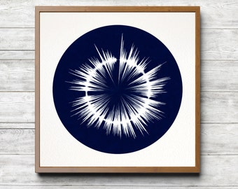 Dylan Thomas 'Do Not Go Gentle Into That Good Night', Radial Waveform Cyanotype - Limited Edition