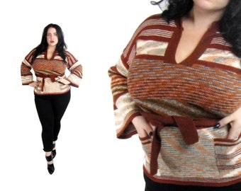 Vintage 1970's Sweater l Colorful Striped Knit Sweater l Size Large l Vintage Sweater