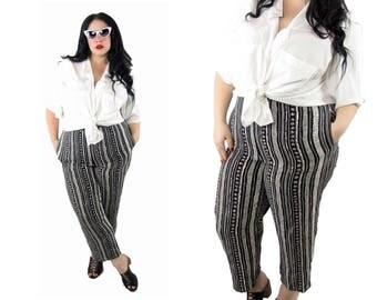 Plus Size Vintage Pants 1990's Graphic Print - Size XL