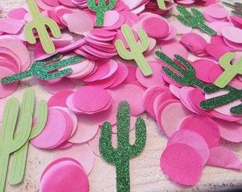 Cactus Fiesta Confetti ~ Quinceanera ~ Birthday, Bachelorette or Baby Shower ~ Green Saguaros & Hot Pink Confetti