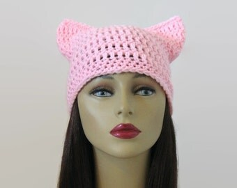 Pink pussy hat pink cat beanie LIght Pink Womens March Hat Knit pink pussyhat  crochet pink beanie with ears crochet pink hat kitty hat