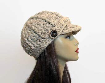 Crochet Newsboy Hat Crochet Hat with Visor Adult Oatmeal Newsboy Knit Hat Beige Beanie Cream Crochet Hat with Visor Tweed Newsboy Cream Hat