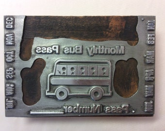 Vintage Real Bus Pass Ticket  - Ink Press Wood Printers Block. Appx 3.5 x 2.25 x 1 Inch