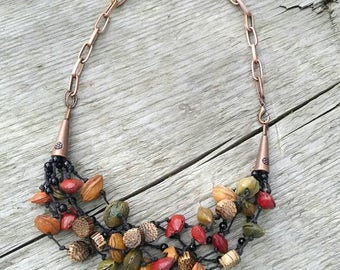 Colorful Seed Necklace, Boho Necklace,  Organic, Palm Wood, Waxed Cotton, Knotted, Copper Chain, Short Necklace
