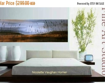 """SALE ORIGINAL Huge 60""""  Contemporary modern  fine  art  abstract  Florida seascape  painting on gallery canvas  by Nicolette Vaughan Horner"""