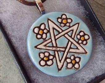 Ceramic Pottery Pentacle Pendant Necklace, Pentagram, Pagan Jewellery, Goddess Pendant, Wiccan Jewelry, Spiritual Jewelry, Wearable Art