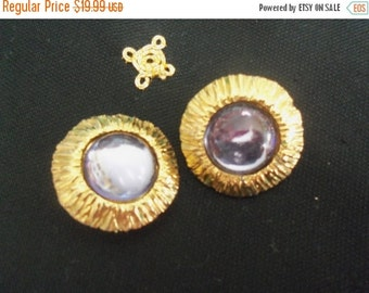 Now On Sale Vintage Purple Glass Stone Earrings Chunky Pretty Collectible Jewelry Martini Mermaid