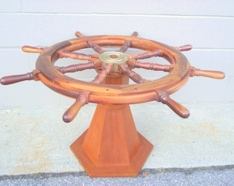 Nautical TEAK Brass Ships Wheel Rotating Coffee Cocktail Table Helm - Maritime Sailing Pirate Decor - Display Serving Table