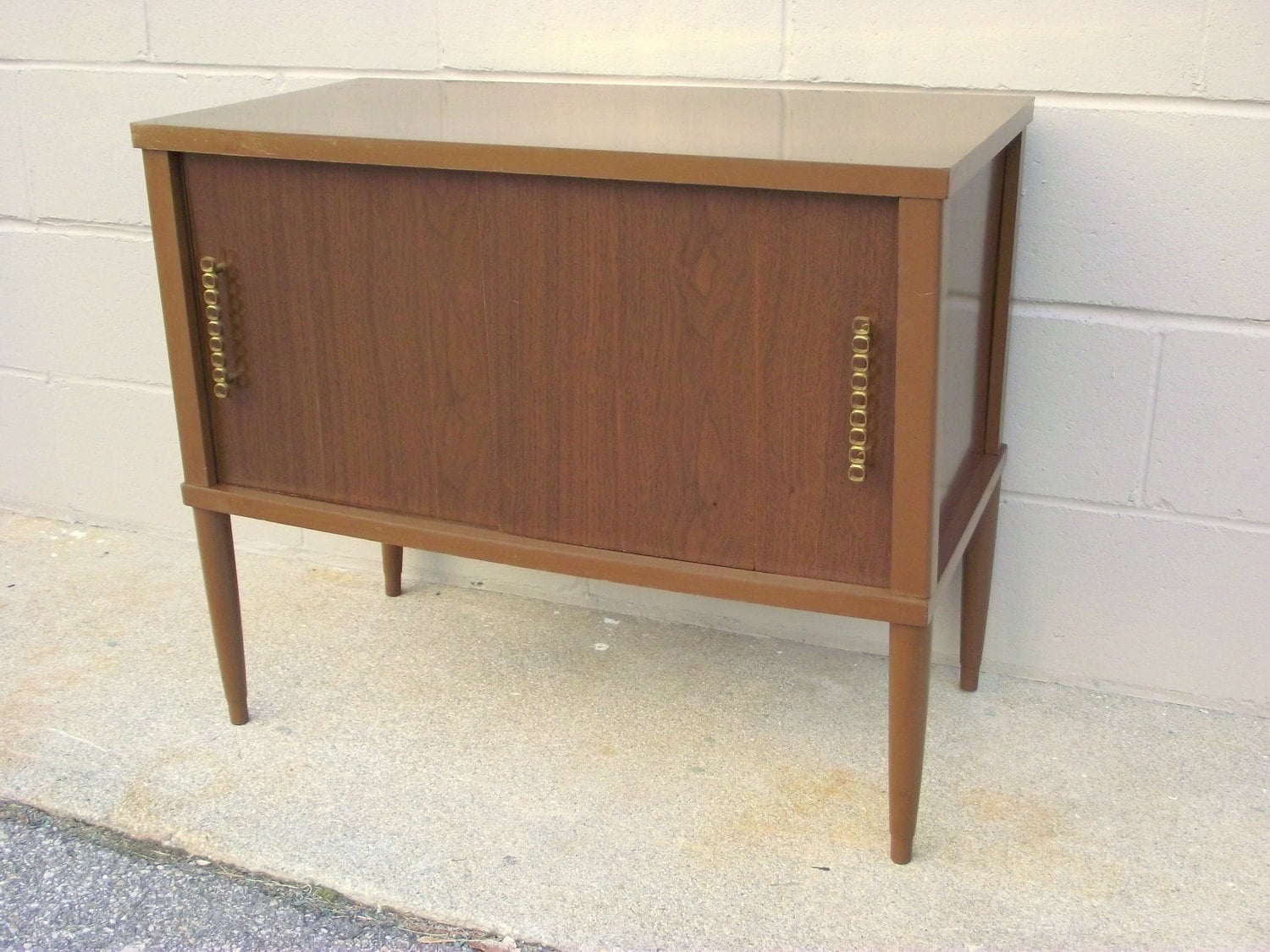 Mid Century Modern Record Player Cabinet Storage Console Fab