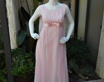 Vintage 1960's Pink Chiffon Evening Dress - Size 4