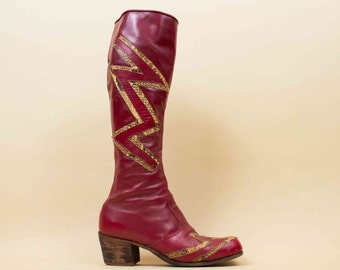 70s Vtg Custom Leather & Python SNAKESKIN Lighting Bolt Knee High Boots / GLAM Rocker England Bowie Rocker Unisex M 9 W 11 Eu 42.5