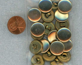 Set or Lot of 20 Vintage Shiny Gold Sewing Buttons 5/8 inch 16mm
