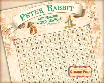 Peter Rabbit Party Game, fun Wordsearch, 12 characters, easy to print,  Instant download, Find them all!