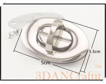 Purse Twist lock turn lock nickel 2.4cm x 3.2cm  1245