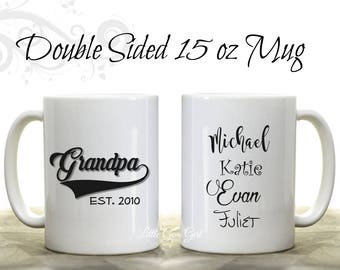 Grandpa Established Coffee Mug Personalized with Grandkids Names - Custom Grandpa Fathers Day Coffee Mug with Est Date - Large 15 ounce