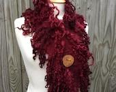 Woodland scarf- Red burgandy ox blood wine scarf- Rustic Wild Woodland Scarf- boho scarf- lagenlook-winter scarf- fairy Elven- felt scarf