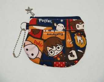 """Gathered Zipper Pouch / Card and Coin purse Made with Japanese Cotton Oxford Fabric """"Harry Potter and Friends - Red/Navy"""""""