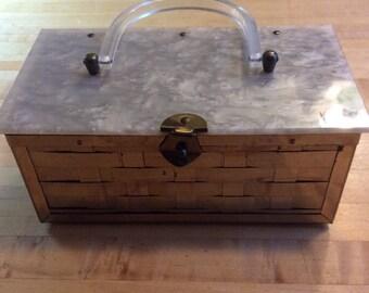 Vintage purse 1950s hand bag bag basket weave metal purse plastic 1950s rockabilly