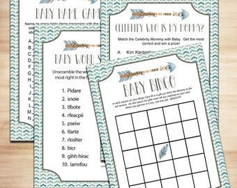 Baby Shower Games - Boho Arrow Tribal Blue Grey Boy Shabby Chic - Baby Scramble Baby Bingo - Baby Boy Shower Printables