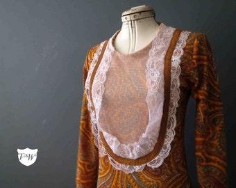 Orange Paisley Maxi Sweater Dress Victorian 70s Style Handmade