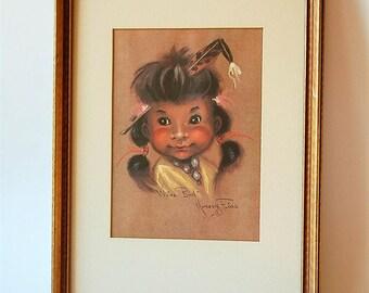 "Mid Century Indian Child Print ""Little Bird"" Monte Flagg"