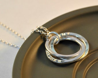 Personalised Names Necklace, Sterling Silver, Family Necklace, Interlocking Rings, Moms Gift