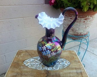Large Fenton Plum Carnival Iridized Glass Pitcher Hand Decorated Artist Dianna Barbour Commemorating 90 Years Signed Frank Bill Fenton
