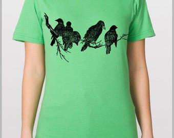 Birds on a Tree Limb - Men's Womem's Nature T Shirt American Apparel Unisex Shirt Mother's Day Gift for Mom Graduation Gift