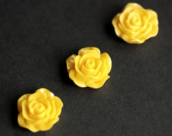 Floral Fridge Magnets in Bright Yellow Resin. Set of Three. Yellow Flower Refrigerator Magnets. Yellow Rose Flower Magnets.