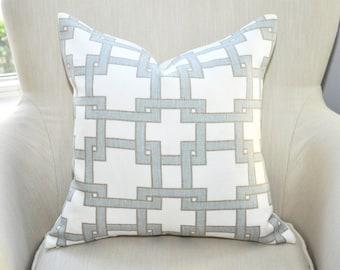 Thom Filicia Citysquare Geometric Pillow Cover --  Blue Gray / Taupe Brown -- Zipper Closure