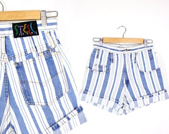 "Vintage Retro Light Blue Striped Shorts ""Steel"" High Waisted Shorts Size 5"