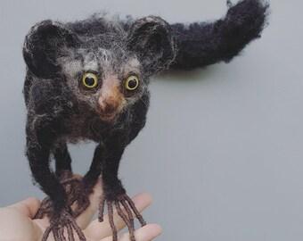 Aye aye, needle felted sculpture, felt animal, cute lemur, Madagascar animals, captains gift, realistic fiber soft sculpture, collectible