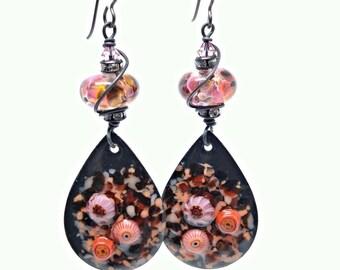 FREE Shipping - Valentine gift for her - dangle earrings - long earrings dangle - enamel jewelry - black earrings