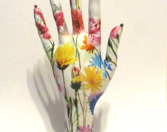 TALL Style Mystic Meadow Fabric Jewelry Glasses Display HAND-Stand