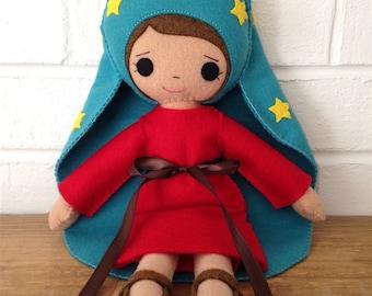 Catholic Toy Doll - Our Lady of Guadalupe - Wool Felt Blend - Catholic Toy - Felt Doll